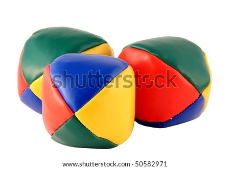 Three juggling balls isolated on pure white - stock photo