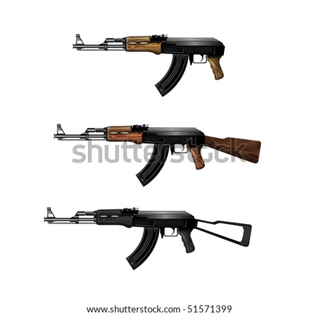 Three Kalashnikov submachine guns isolated on white background - stock photo
