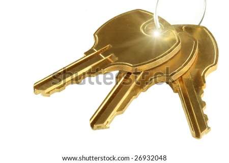 Three keys isolated on white color background