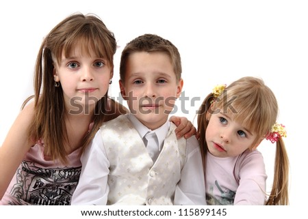 three kids isolated on the white background - stock photo