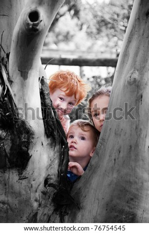 Three kids looking around tree in natural setting - stock photo