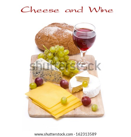 three kinds of cheese, bread, grapes and wine, isolated on white