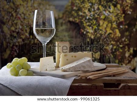 Three kinds of french cheese and a glass of white wine - stock photo