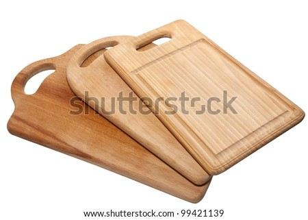 three kitchen cutting board isolated on white - stock photo
