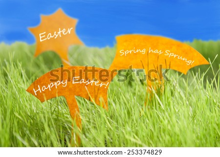 Three Labels With English Text Easter Happy Easter And Spring Has Sprung On Sunny Green Grass For Spring Or Summer Feeling And Blue Sky And For Seasons Greetings Or Easter Greetings - stock photo