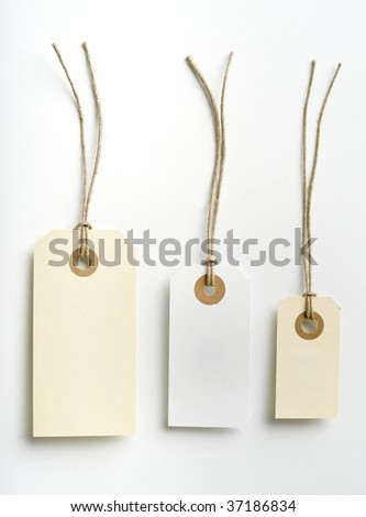 Three labels with simple rope isolated on white