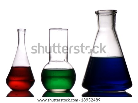 Three laboratory retorts (red, green and blue) isolated on white background