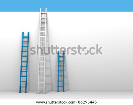 Three ladder leaning the wall - 3d illustration