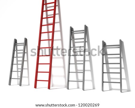 Three ladders, concept success - stock photo