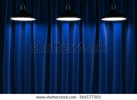 three lamps and blue curtains, 3d render - stock photo