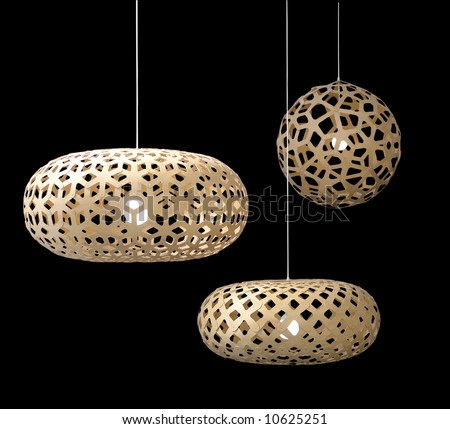 Three lampshades isolated over black - stock photo