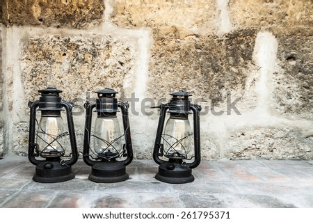 three lanterns in Santa Catalina monastery, Arequipa, Peru - stock photo
