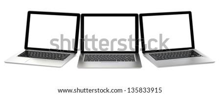 Three  laptop computers - stock photo