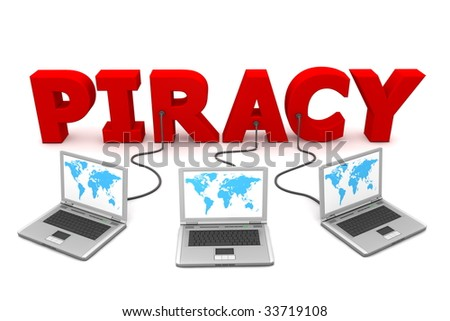 three laptops with a blue world map connected to the red 3D word PIRACY - stock photo