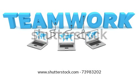 three laptops with a world map are connected to the 3D word TEAMWORK - stock photo