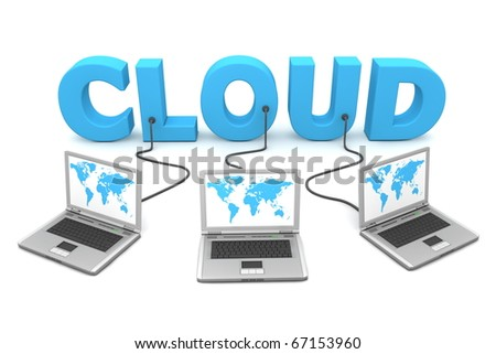 three laptops with a world map connected to the blue 3D word Cloud - stock photo