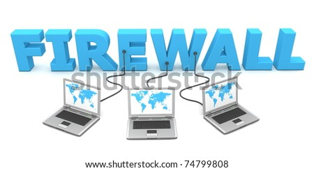 three laptops with blue world map connected to the blue 3D word FIREWALL