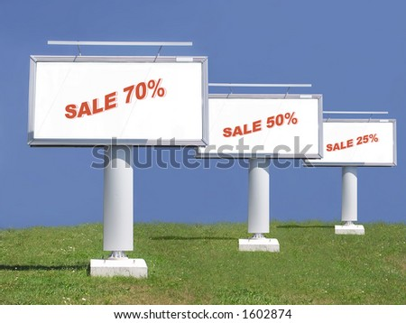 Three large billboards with 75-50-25 percent summer sale note - stock photo