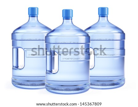 Three Large bottle of pure water isolated on a white background - stock photo