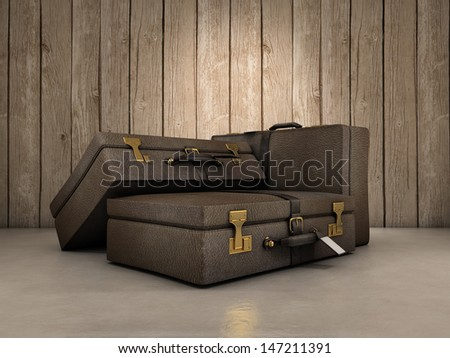 Three leather bags composition over glossy surface - stock photo