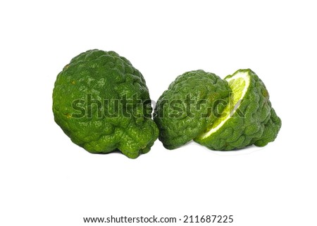 Three leech lime, Kaffir Lime fruits isolated on white  - stock photo