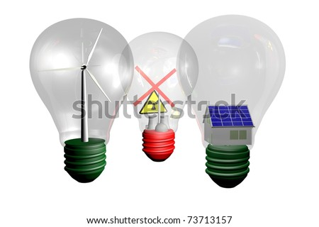 Three light bulb - stock photo