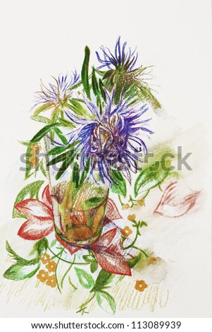 three lilac asters in a glass on tablecloth with flower ornament pencil drawing - stock photo