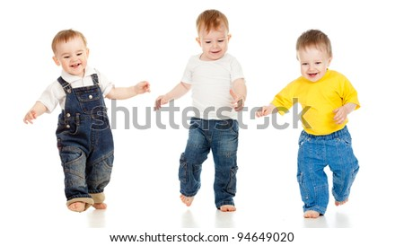 Three little boys playing game and running