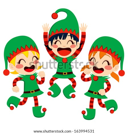 Three little children dressed in Santa Claus Helpers costume dancing happy on Christmas Eve time - stock photo