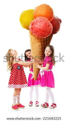 Three little girl rejoice the very big ice cream which they hold in their hands. - stock photo