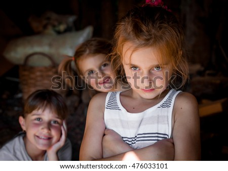 Three little girls  together