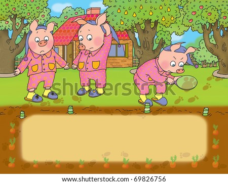 three little pigs discover the loss of cabbage from the garden - stock photo