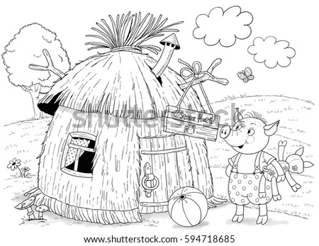 straw house coloring pages - photo#26