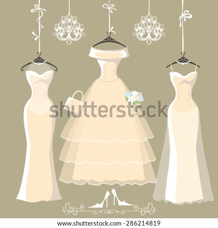 Three long wedding bridal dresses with long skirt.Dresses hang on ribbons.Composition with chandeliers, high heel shoes on grey background. Fashion  Illustration - stock photo