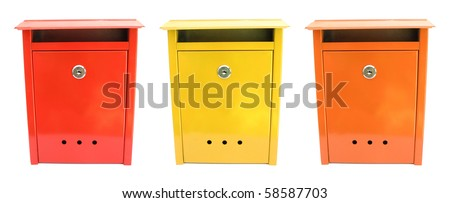 Three lovely mailboxes red yellow orange - stock photo