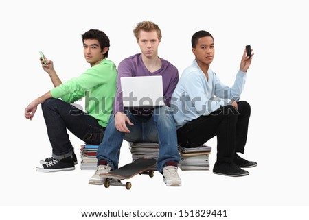 Three male students - stock photo