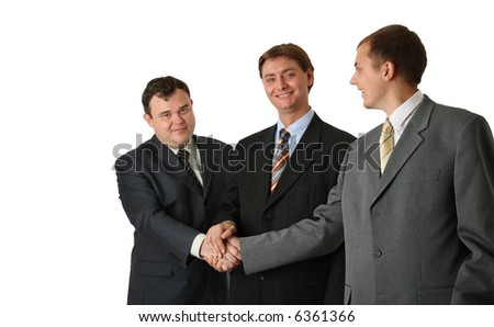 Three man, handshaking, over white, isolated. - stock photo