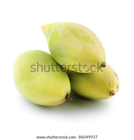 Three mangoes on white background