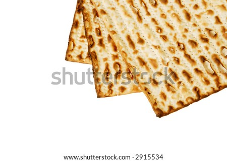 Three matzot on white background - stock photo