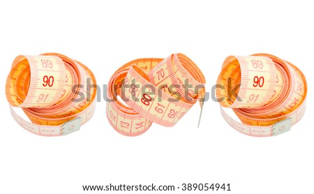 Three measuring tapes showing 90-60-90 as ideal parameters for women (isolated on white)