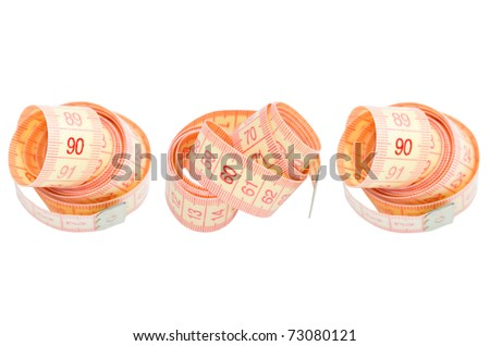 Three measuring tapes showing 90-60-90 as ideal parameters for women (isolated on white) - stock photo