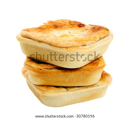 Three meat pies isolated over white background. - stock photo