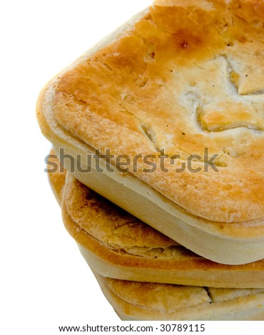 Three meat pies isolated over white background.