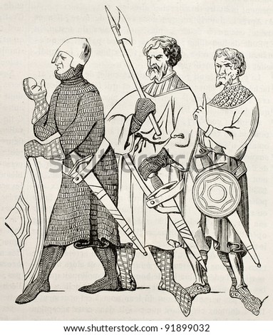 Three medieval soldiers old illustration. After 14th century miniature, published on Magasin Pittoresque, Paris, 1845 - stock photo