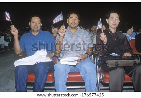 Three Men at Citizenship Ceremony, Los Angeles, California
