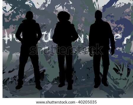 three men in a row showing off ,silhouette,casual dressed - stock photo