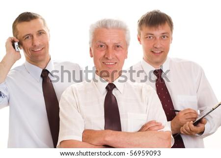Three men on a white background - stock photo