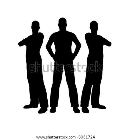 three men silhouette - stock photo