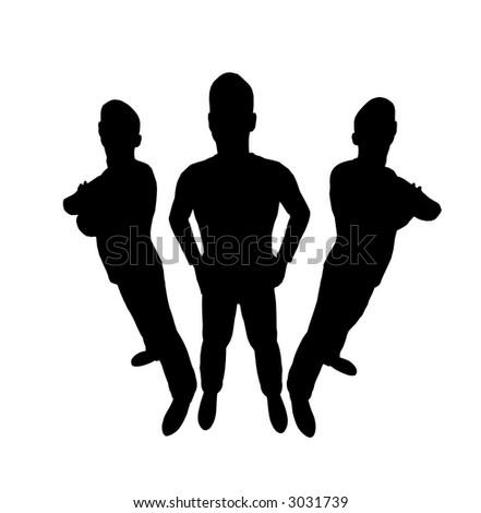 three men silhouette wide angle - stock photo