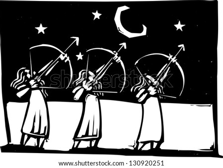 Three men with bows shooting arrows into the night sky.
